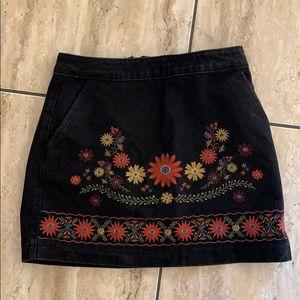 Black flowered denim skirt